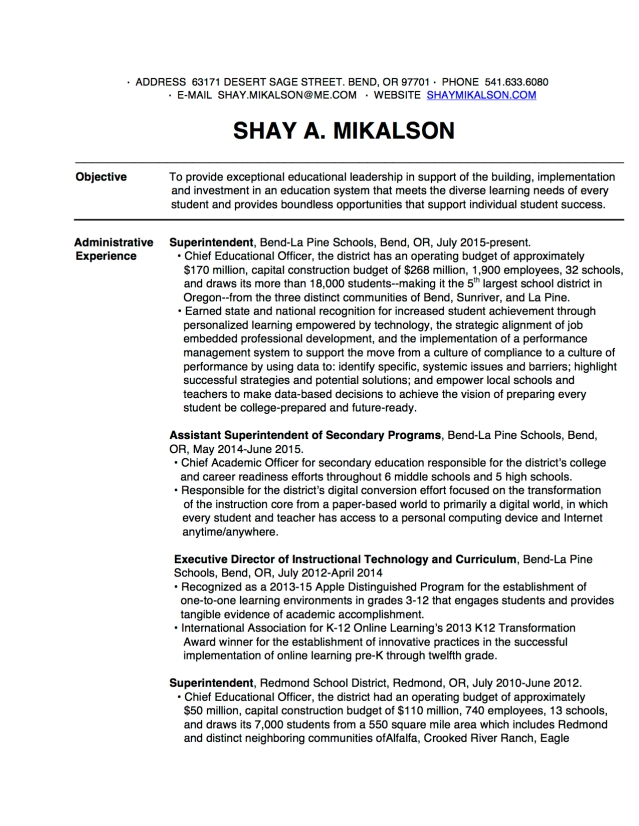 Current 2017 Shay Mikalson Resume